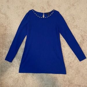 Royal blue sweater with beaded neckline